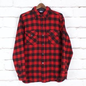 Woolrich Red Black Buffalo Plaid Wool Button Shirt